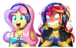 Size: 2158x1360 | Tagged: safe, artist:the-butch-x, edit, fluttershy, sunset shimmer, equestria girls, equestria girls series, game stream, spoiler:eqg series (season 2), angry, bloodshot eyes, clothes, controller, cross-popping veins, cute, female, gamer sunset, gamershy, geode of fauna, happy, headphones, headset, magical geodes, meme, open mouth, psycho gamer sunset, rage, rage face, rageset shimmer, shrunken pupils, shyabetes, simple background, sunset shimmer frustrated at game, sunset shimmer is not amused, that pony sure have anger issues, unamused, upscaled, varying degrees of amusement, white background