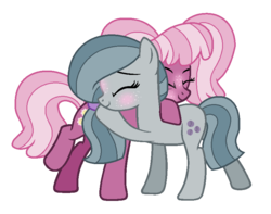 Size: 829x652 | Tagged: safe, artist:fandom-crockpot, artist:shiibases, artist:zacatron94, cheerilee, marble pie, earth pony, pony, alternate hairstyle, base used, blushing, female, freckles, hug, lesbian, marbilee, mare, pigtails, raised hoof, shipping, simple background, transparent background