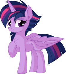 Size: 6073x6794   Tagged: safe, artist:cyanlightning, twilight sparkle, alicorn, pony, .svg available, absurd resolution, alternate hairstyle, chest fluff, ear fluff, female, lidded eyes, looking at you, mare, punklight sparkle, simple background, solo, spread wings, transparent background, twilight sparkle (alicorn), vector, wings