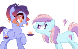 Size: 3100x1975 | Tagged: artist:dashblitzfan4ever, earth pony, female, mare, oc, oc:lavender strike, oc only, oc:sunset wave, pegasus, pony, safe, simple background, transparent background