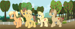 Size: 2648x1024 | Tagged: safe, artist:foreverfizzytv, applejack, caramel, oc, oc:apple scone, oc:carmel heart, oc:cookie crisp, pony, apple tree, carajack, family, female, fence, male, offspring, parent:applejack, parent:caramel, parents:carajack, shipping, straight, tree