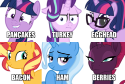 Size: 900x600 | Tagged: safe, fizzlepop berrytwist, sci-twi, starlight glimmer, sunset shimmer, tempest shadow, trixie, twilight sparkle, alicorn, pony, turkey, unicorn, equestria girls, bacon, bacon hair, chart, counterparts, egghead, equestria girls ponified, food, ham, i'm pancake, lip bite, magical sextet, meat, ponified, twilight sparkle (alicorn), twilight's counterparts, unicorn sci-twi