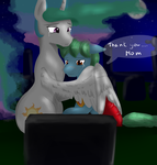 Size: 2000x2100 | Tagged: safe, artist:ruanshi, princess celestia, oc, oc:azure glide, alicorn, pegasus, pony, commission, dialogue, female, grave, gravestone, graveyard, heartwarming description, hug, male, mare, momlestia, mother and son, scar, speech bubble, stallion, story included, tears of relief, winghug