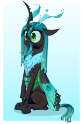 Size: 1000x1486 | Tagged: artist:deusexequus, changeling, chest fluff, cute, cutealis, female, moth, mothling, original species, :p, queen chrysalis, raspberry noise, safe, silly, sitting, slit eyes, solo, species swap, tongue out