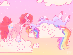 Size: 1024x768 | Tagged: altered cutie mark, artist:wanderingpegasus, chest fluff, cloud, colored hooves, colored wings, duo, earth pony, female, lesbian, looking at each other, mare, on back, pegasus, pinkiedash, pinkie pie, pony, rainbow dash, safe, shipping, sky, smiling, unshorn fetlocks