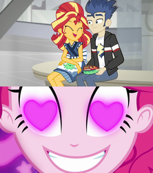 Size: 1920x2160 | Tagged: safe, edit, flash sentry, pinkie pie, sunset shimmer, coinky-dink world, eqg summertime shorts, equestria girls, good vibes, female, flashimmer, heart eyes, male, meme, pinkie the shipper, pinkie's eyes, shipping, straight, sunset sushi, wingding eyes