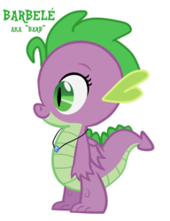 Size: 2650x3450 | Tagged: safe, artist:chiptunebrony, spike, dragon, alternate hairstyle, barb, barbabetes, cute, female, gem, rule 63, rule63betes, sapphire, solo, winged barb, winged spike