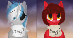 Size: 2400x1280 | Tagged: safe, artist:fluffytail_studio, oc, oc:cinnamon pop, oc:sekr gray, pegasus, pony, unicorn, blushing, cute, eyepatch, image set, mouth hold, sekramon, snuggles?, ych result