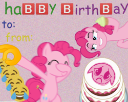 Size: 2000x1600 | Tagged: safe, pinkie pie, earth pony, pony, :c, apology cake, bipedal, cake, clone, covering face, cupcake, cursed image, dab, dank memes, emoji, eyes closed, facehoof, female, floppy ears, food, frown, grin, happy birthday, hoof hold, lidded eyes, looking at you, mare, multeity, pinkie being pinkie, pinkie physics, sad, sideways, simple background, smiling, smirk, stamp of forgiveness, static, text, wat, 🅱, 👌, 😂