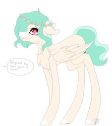Size: 600x677 | Tagged: artist:articfoxdraws, blaze (coat marking), caught, chest fluff, crumbs, female, floral head wreath, flower, freckles, heart eyes, mare, oc, oc only, oc:snap happy, pegasus, pony, safe, simple background, solo, speech bubble, transparent background, wingding eyes