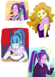 Size: 2894x4093 | Tagged: adagio dazzle, adoragio, ariabetes, aria blaze, artist:amazingpuffhair, blushing, burger, chopsticks, cute, eating, equestria girls, equestria girls series, eyes closed, food, hamburger, japanese food, noodles, no pupils, pocky, popsicle, ramen, safe, sonatabetes, sonata dusk, the dazzlings, tongue out