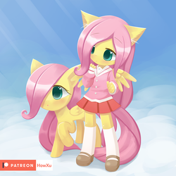Size: 1000x1000 | Tagged: safe, artist:howxu, fluttershy, pegasus, pony, anthro, :o, anthro ponidox, anthro with ponies, blushing, clothes, cloud, crepuscular rays, cute, ear fluff, female, filly, filly fluttershy, hnnng, looking at something, mare, mary janes, miniskirt, open mouth, patreon, patreon logo, pleated skirt, raised hoof, school uniform, schoolgirl, self ponidox, shoes, shyabetes, skirt, sky, socks, spread wings, weapons-grade cute, wings, younger