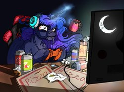 Size: 4055x3000 | Tagged: safe, artist:lupiarts, artist:snoopystallion, princess luna, alicorn, pony, gamer luna, absurd resolution, beverage, can, chair, coca-cola, collaboration, comic sins, controller, cup, female, food, hoof hold, levitation, magic, pizza, relatable, sitting, telekinesis, television