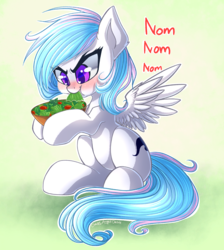 Size: 2692x3000 | Tagged: angry eating, artist:chaosangeldesu, cute, eating, food, herbivore, horses doing horse things, nom, oc, oc only, oc:starburn, pegasus, pony, safe, salad, sitting