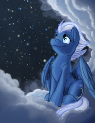 Size: 600x776 | Tagged: safe, artist:scruffasus, night glider, pegasus, pony, chest fluff, cloud, cute, ear fluff, female, glideabetes, mare, night, sitting, sky, solo, starry night, stars
