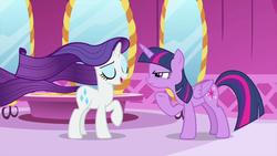 Size: 1280x720   Tagged: safe, screencap, rarity, twilight sparkle, alicorn, unicorn, rarity's biggest fan, spoiler:interseason shorts, cutie mark, female, mare, twilight sparkle (alicorn)