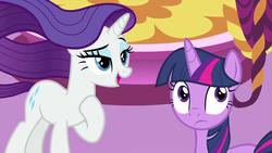 Size: 1280x720   Tagged: safe, screencap, rarity, twilight sparkle, alicorn, pony, unicorn, rarity's biggest fan, spoiler:interseason shorts, female, mare, twilight sparkle (alicorn)