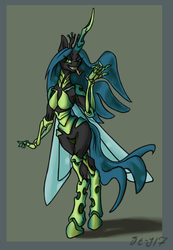 Size: 1186x1718 | Tagged: safe, artist:danton-y17, queen chrysalis, changeling, changeling queen, anthro, female, solo