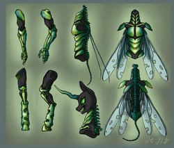 Size: 2999x2556 | Tagged: safe, artist:danton-y17, queen chrysalis, changeling, changeling queen, anthro, armpits, exoskeleton, female