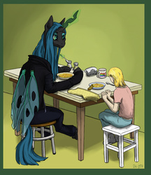 Size: 2595x3006 | Tagged: safe, artist:danton-y17, queen chrysalis, changeling, changeling queen, human, fanfic:broken toy, fanfic:the girl and the queen, clothes, dishes, duo, fanfic art, female, food, glowing horn, hoodie, horn, magic, mug, napkin, pepper shaker, salt shaker, smiling, spoon, stool, table, telekinesis, wings