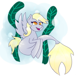 Size: 1407x1403 | Tagged: artist:kiwiscribbles, derpy hooves, heart eyes, race swap, safe, seapony (g4), solo, wingding eyes