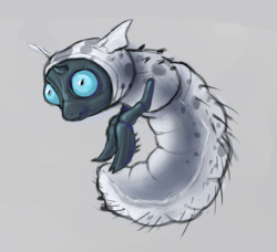 Size: 857x781   Tagged: safe, artist:laorator, thorax, changeling, changeling larva, adoracreepy, bug eyes, creepy, cute, gray background, grub, larva, male, simple background, solo, younger
