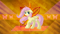 Size: 3840x2160 | Tagged: artist:laszlvfx, artist:mysteriouskaos, edit, female, fluttershy, mare, pegasus, pony, raised hoof, safe, smiling, solo, wallpaper, wallpaper edit, windswept mane