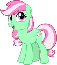 Size: 5561x6310 | Tagged: absurd res, artist:jhayarr23, earth pony, female, freckles, g3, g3 to g4, g4, generation leap, mare, minty, pony, safe, simple background, smiling, solo, spoiler:interseason shorts, sundae sundae sundae, transparent background, vector