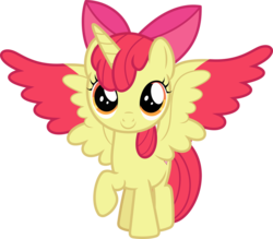 Size: 954x837 | Tagged: adorabloom, alicorn, alicornified, apple bloom, artist:phucknuckl, bloomicorn, colored wings, colored wingtips, cute, female, filly, foal, pony, race swap, raised hoof, safe, simple background, solo, spread wings, transparent background, wings