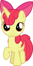 Size: 633x1263 | Tagged: adorabloom, alicorn, alicornified, apple bloom, artist:phucknuckl, bloomicorn, colored wings, cute, female, filly, foal, folded wings, pony, race swap, raised hoof, safe, simple background, solo, transparent background