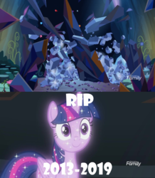 Size: 628x720   Tagged: safe, screencap, tree of harmony, alicorn, pony, the beginning of the end, what lies beneath, spoiler:s09e02, c:, crystal, dark crystal, destruction, f, female, hilarious in hindsight, implied twilight sparkle, mare, meme, press f to pay respects, rest in peace, shattered, smiling, sparkles, treelight sparkle, wide eyes