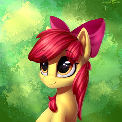 Size: 3000x3000 | Tagged: safe, artist:setharu, apple bloom, earth pony, pony, abstract background, adorabloom, bow, bust, chest fluff, cute, eye clipping through hair, female, filly, hair bow, portrait, signature, smiling, solo