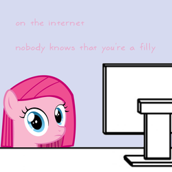 Size: 600x600 | Tagged: artist needed, safe, pinkie pie, computer, desk, female, filly, looking at you, meme, on the internet nobody knows you're a dog, pinkamena diane pie, reaction image, solo, stare, sweetie belle's stare, text