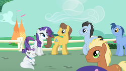 Size: 1280x720 | Tagged: safe, screencap, blues, caramel, cyclops pony, lucky clover, meadow song, noteworthy, opalescence, rarity, cyclops, the best night ever, animation error, donny swineclop