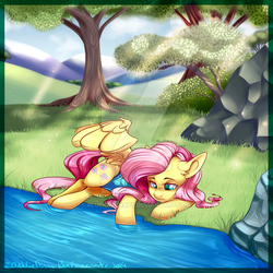 Size: 600x600 | Tagged: artist:bluekazenate, clothes, crepuscular rays, cute, deviantart watermark, female, fluttershy, looking at something, looking down, mare, obtrusive watermark, one-piece swimsuit, one wing out, outdoors, pegasus, pony, relaxing, river, riverbank, safe, shyabetes, side, smiling, solo, swimsuit, tree, watermark