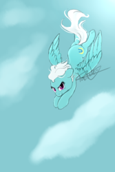 Size: 2000x3000 | Tagged: artist:pucksterv, cloud, cute, diafleetes, female, fleetfoot, flying, mare, pegasus, pony, safe, sky, solo, spread wings, wings
