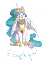 Size: 5100x7014 | Tagged: safe, artist:drawingjules, princess celestia, alicorn, pony, absurd resolution, c:, crown, cute, cutelestia, eyes closed, female, food, head tilt, hnnng, hoof shoes, jewelry, mare, nom, peytral, regalia, silly, silly pony, simple background, sitting, smiling, solo, spread wings, text, transparent background, waffle, wing fluff, wings
