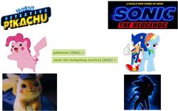 Size: 821x512 | Tagged: safe, pinkie pie, rainbow dash, pikachu, comparison, crossover, detective pikachu, pokémon, sonic movie 2020, sonic the hedgehog, sonic the hedgehog (series)