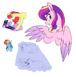 Size: 2249x2292 | Tagged: safe, artist:saphi-boo, apple bloom, princess cadance, rainbow dash, twilight sparkle, alicorn, earth pony, pegasus, pony, soul bond au, alternative cutie mark placement, bedroom eyes, biting, blushing, cadash, eyebrows visible through hair, female, floppy ears, infidelity, lesbian, looking over shoulder, love bite, mare, older, shipping, simple background, soulmate marks, transparent background, twibloom, twilight sparkle (alicorn)