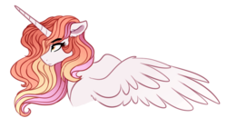Size: 678x382   Tagged: safe, artist:saphi-boo, oc, oc only, oc:scarlet, alicorn, pony, alicorn oc, bust, eyebrows visible through hair, female, floppy ears, long horn, magical lesbian spawn, mare, next generation, offspring, parent:princess celestia, parent:rainbow dash, parents:dashlestia, serious, serious face, simple background, solo, spread wings, transparent background, wings