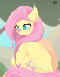 Size: 3000x3800   Tagged: safe, artist:xsatanielx, fluttershy, butterfly, pegasus, pony, butterfly on nose, cross-eyed, cute, female, insect on nose, looking at something, mare, rcf community, shyabetes, sitting, smiling, solo, wings