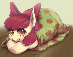 Size: 2112x1665 | Tagged: safe, artist:taytinabelle, apple bloom, earth pony, pony, adorabloom, apple, apple bloom's bow, blanket, blanket burrito, bow, burrito, colored pupils, cute, daaaaaaaaaaaw, female, filly, food, hair bow, hnnng, looking at you, smiling, solo, weapons-grade cute