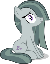 Size: 3012x3878 | Tagged: artist:tomfraggle, concerned, earth pony, female, hair over one eye, marble pie, mare, pony, sad, safe, simple background, sitting, solo, transparent background
