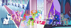Size: 7833x3177 | Tagged: absurd res, artist:velveagicsentryyt, changedling, changeling, female, good king sombra, king sombra, king thorax, lumbra, male, pony, princess cadance, princess celestia, princess luna, safe, shining armor, shiningcadance, shipping, straight, thoralestia, thorax