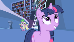 Size: 1280x720 | Tagged: bookshelf, dragon, feather, friendship is magic, ladder, paper, parchment, pony, quill, safe, screencap, spike, twilight's canterlot home, twilight sparkle, unicorn, unicorn twilight