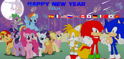 "Size: 4631x2218 | Tagged: 2019, alicorn, applejack, artist:trungtranhaitrung, crossover, dragon, flag, fluttershy, happy new year, holiday, hooves, knuckles the echidna, mane seven, mane six, miles ""tails"" prower, new year, pinkie pie, pony, rainbow dash, raised hoof, raised leg, rarity, safe, sonic the hedgehog, sonic the hedgehog (series), spike, sunset shimmer, twilight sparkle, twilight sparkle (alicorn), winged spike"