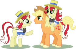 Size: 900x584 | Tagged: safe, artist:purrelise, applejack, flam, flim, earth pony, pony, unicorn, applejack (male), female, flim flam brothers, male, rule 63, sham, shim, shim sham sisters, siblings, sisters, trio