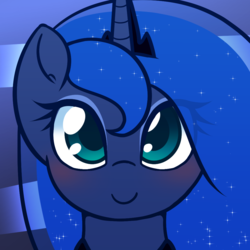 Size: 1000x1000 | Tagged: alicorn, artist:puetsua, blushing, cute, female, looking at you, lunabetes, mare, pony, princess luna, safe, smiling, solo