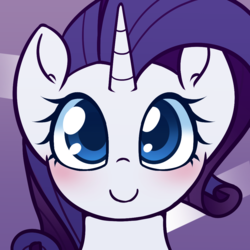 Size: 1000x1000 | Tagged: artist:puetsua, blushing, cute, female, looking at you, mare, pony, raribetes, rarity, safe, smiling, solo, unicorn