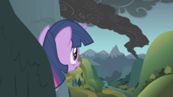 Size: 2880x1614 | Tagged: dragonshy, female, mare, mountain, pony, safe, screencap, smoke, solo, twilight sparkle, unicorn, unicorn twilight, valley